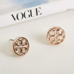 Tory Burch Rose Gold Logo Circle Earrings with bag